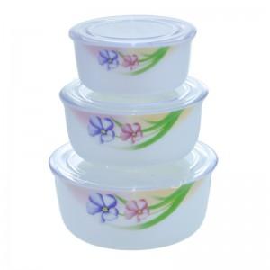 Πιατα - Μπωλ - Ταπερ - Σετ 3 γυαλινα μπωλ οπαλινα με πλαστικο καπακι ΜΠΩΛ